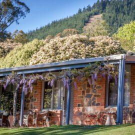 Stone featured units under Mystic Mt with veranda and wisteria