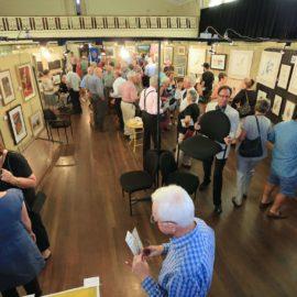 Opening night conversation at the Yea Rotary Art Show