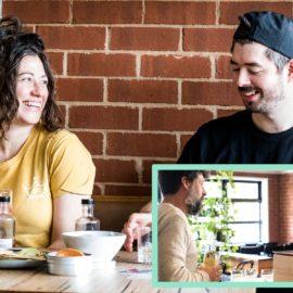 A couple enjoy a virtual gin tasting via zoom