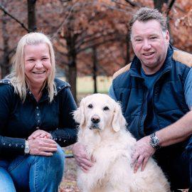 Owners of Alpine Truffles Mark and Taola Baldwin with truffle hunting dog Charli