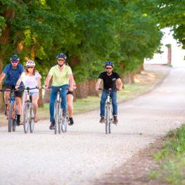 Cycling down the All Saints Estate driveway